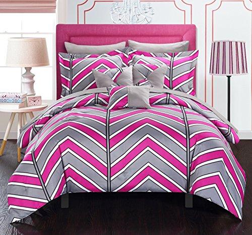 Chic Home 10Stück Surfer Chevron und geometrische Bedruckte Wende Queen Bed in a Bag Tröster Set Fuchsia Blatt-Set und deocrative Kissen enthalten