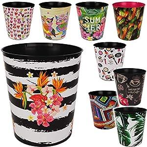 Papierkorb / Behälter – Motiv-Mix – Blumen – Blüten & Tiere – 10 Liter – wasserdicht – aus Kunststoff – Ø 28 cm – großer Mülleimer / Eimer – Abfalleimer – Auf..