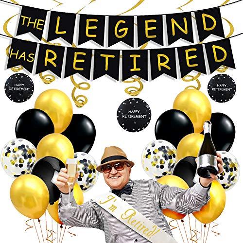 JOYMEMO Ruhestand Party Dekorationen schwarz und Gold, die Legende hat Banner im Ruhestand, hängen Swirl Dekorationen, ich Bin im Ruhestand Satin Schärpe Retirement Supplies für Männer