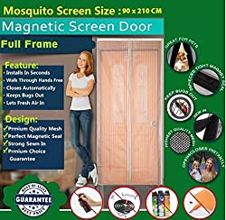Mosquito Door Net/mosquito door net with magnet / Curtain/ Door Curtain-mosquito door net with frame/Magnetic Screen Door Full Frame Mesh Curtain With Hook and Loop Fastener Tape With Highest Weight In Quality On Amazon By Shuban (90 Cm W X 210 Cm H) (Package Weight - 635 Grams) - Cream Color