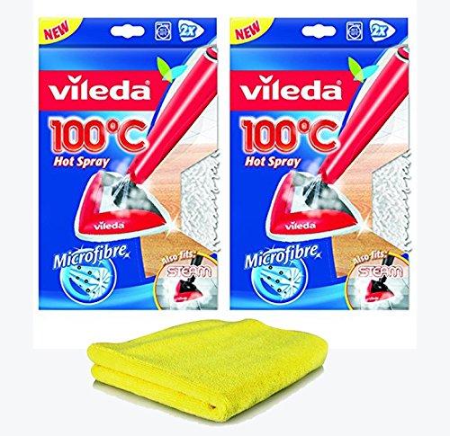 """Siluk_Vileda Ersatzbezug für 100 Grad \""""Hot Spray\"""" und Steam Dampfreiniger (2x 2 Stück)"""