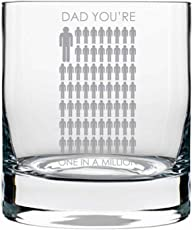 YaYa cafe Birthday Gifts for Father, One in a Million Dad Whiskey Glass for Daddy with Coaster