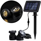 Lixada Solar Powered Super Bright 2 Underwater Lamps 12 LEDs Light Sensor Projector Light Garden Pool Pond Yard Submersible S
