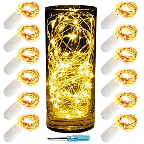 12 Pack Lichterketten LED String Lichter Batteriebetriebene 2M 20 Leds Firefly Lichter Sternenlichterketten für Kostüm, Hochzeit, Schlafzimmer, Halloween, Ostern, Weihnachtsdekoration ()