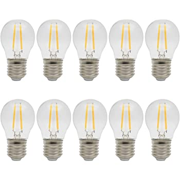 10X E27 Bombilla LED Filamento 2W LED de Edison Ahorro de Energía Bombillas Vintage LED Blanco