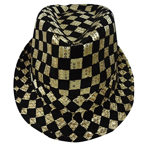 Dress Up America Erwachsene Gold Schachbrett Fedora Hut
