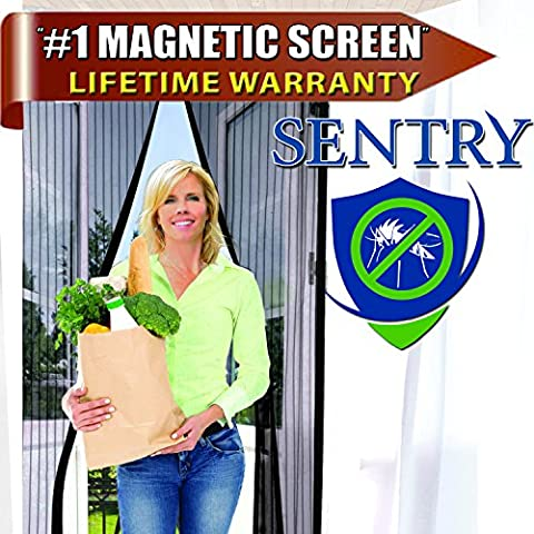 Magnetic Screen Door (Black) - Fits 94cmx208cm Doors (99cmx210cm Fly Screen) ★ Full Frame Velcro ★ Premium Quality ★ Tough & Durable