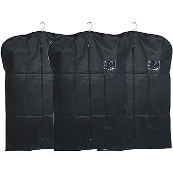 Kuber Industries™ Men's Coat Blazer Cover Foldover Breathable Garment Bag Suit Cover Set of 3 Pcs- Black