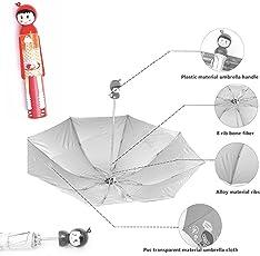 Magnusdeal Folding Umbrella Creative Doll Style Shape Mini Compact Foldable Design Travel/Folding/Portable Umbrella with Waterproof and Compact Bottle