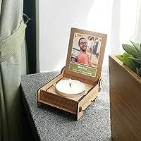 CANDLE in the BOX Trauerkerze in Holzbox mit Spruch | personalisiert mit Foto und mit Namen | DEM HERZEN EWIG NAH | Gedenkkerze | Trauerlicht