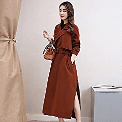 MO Autumn and Winter Coat in the Long Section of the Belt with His Body Windbreaker Women Open Fork Loose Temperament Long Code Long Coat by MO
