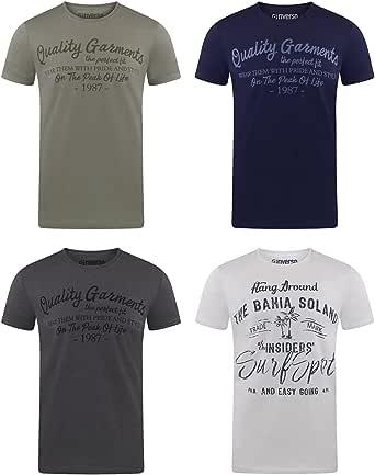 riverso RIVLeon Lot de 4 t-Shirts à col Rond pour Homme T-Shirt imprimé à Manches Courtes 100% Coton Coupe Normale Vert Bleu Blanc Gris Rouge Orange S M L XL 2XL 3XL 4XL 5XL