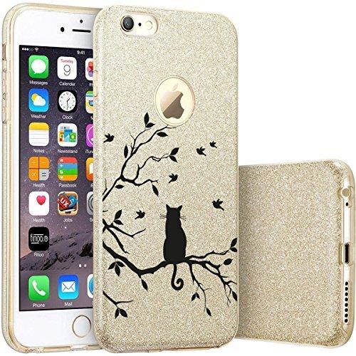 finoo | iPhone 7 Goldene bedruckte Rundum 3 in 1 Glitzer Bling Bling Handy-Hülle | Silikon Schutz-hülle + Glitzer + PP Hülle | Weicher TPU Bumper Case Cover | Queen Black Katze auf Ast