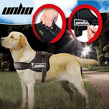 Unho Harnais Chien Moyen Grand Petit Régable Ceinture de Sécurité Support de Poitrine chien 50-109cm taille de XS NOIR