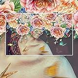 LONGYUCHEN Benutzerdefinierte 3D Silk Wandbild Tapete Zimmer Moderne Handgemalte Aquarell Beauty Floral Wandmalerei Dekorative Tapete Für Schlafzimmer,180Cm(H)×280Cm(W)