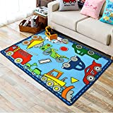 Memorecool cute Cartoon bambini tappeti per bambini Bedroom area eco-friendly anti-slipping animali/Cars stampato Baby Crawling tappeti lavabili in lavatrice stampa reattiva 99,1 x 129,5 cm, Nylon, cars, 39X51inch
