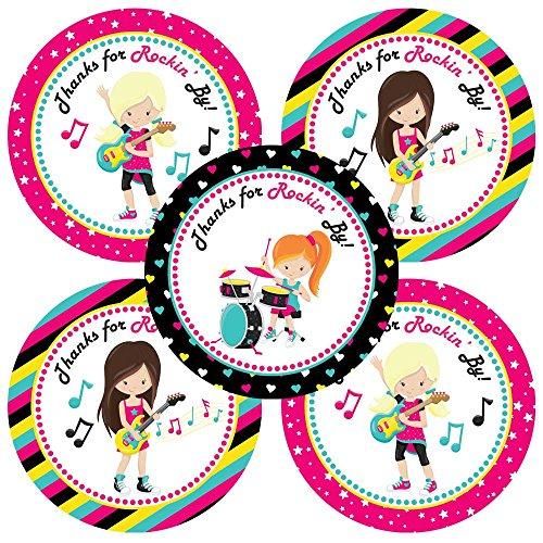 Adorebynat Party Decorations - EU Rockstar-Band-Mädchen danken Ihnen Aufkleber Aufkleber - Musik-Geburtstags-Baby-Partei liefert Dusche - Set 30 (Danken Baby-dusche Ihnen Geschenke)