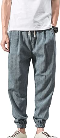 Juleya Pantaloni Uomo Pantaloni Estivi Comodi Pantaloni Leggero Uomo 3/4 Lunghezza Pantaloni Spiaggia Pantaloni Tinta Unita Pantaloni Tempo Libero con Tasche