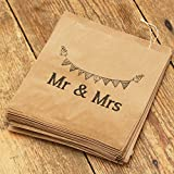 "Lot de 90 sacs en papier kraft marron Luck And Luck avec inscription ""Mr and Mrs"" pour dragées de mariage/bonbons"
