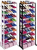 Babz 10 Tier Plastic Free Standing Shoe Rack in Black/White - Fits 30 Pairs (Black)