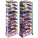 Babz 10 Tier Plastic Free Standing Shoe Rack in Black/White - Fits 30 Pairs (Black)