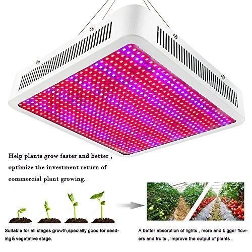 Galleria fotografica Derlight® - Lampada a LED per coltivazione indoor, luce IR IV, potente e ad ampio spettro, adatta per fiori e verdure, Alluminio, bianco, 800W 800.00 watts