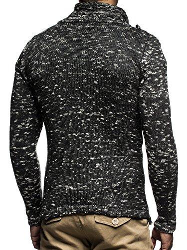 LEIF NELSON Herren Strickjacke Pullover Hoodie Jacke Sweatjacke Winterjacke Pulli Zipper LN20702; Gr_¤e M, Anthrazit - 3