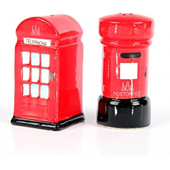 Ceramic London Salt and Pepper Set, Post and Telephone Box