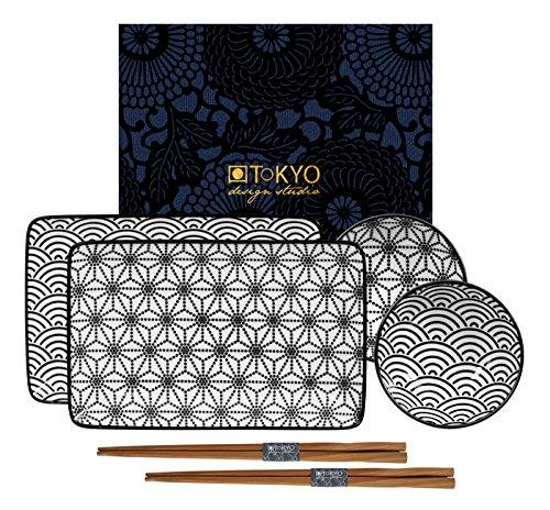 Black Sushi (Tokyo Design Studio, Nippon black, Sushi Set , Geschenkbox, Porzellan)