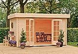 Outdoor Gartenhaus / Flachdachhaus Ervan 300 Sockelmaß: 380 x 300 cm Dachstand: 425 x 345 cm Wandstärke: 28 mm Rauminhalt: 26,20 cbm EPDM - Dacheindeckung: Inklusive Dachrinnenset: Inklusive Ausführung: naturbelassen Material: Massivholz