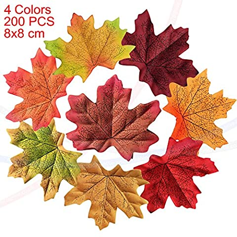 wocharm 200pcs 8X8cm Mixed Artificial Autumn Maple Leaves Autumn Colors Great Autumn Table Scatters For Fall Weddings Festivals Party Christmas Valentine Halloween Home Decor