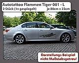 Autotattoo Flammen Tiger 001 - L (2 Stück - 1x gespiegelt) - je 80cm x 22cm - Auto Aufkleber