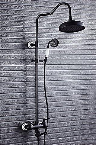 Tougmoo Nouvellement Style rétro de salle de bain douche robinet W/en céramique Pommeau de douche Oil-rubbed Bronze 20,3cm Mitigeur douche baignoire robinet