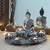 Buddha Dekoteller silber mit Teelichthaltern und Deko-Steinen