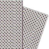 Grafisches 80er Jahre Geschenkpapier Set, Dekorpapier, Papier zum Einpacken im Retro Design, rot, für tolle Geschenk Verpackung und Überraschungen (4 Bogen, 32 x 48cm)