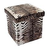 Cadorabo Intirilife – 30 x 30 x 30 cm Aufbewahrungs-Box aus Stoff und Pappe Faltbox Ordnungsbox Kiste mit Deckel und Tieraufdruck in Tiger-Muster