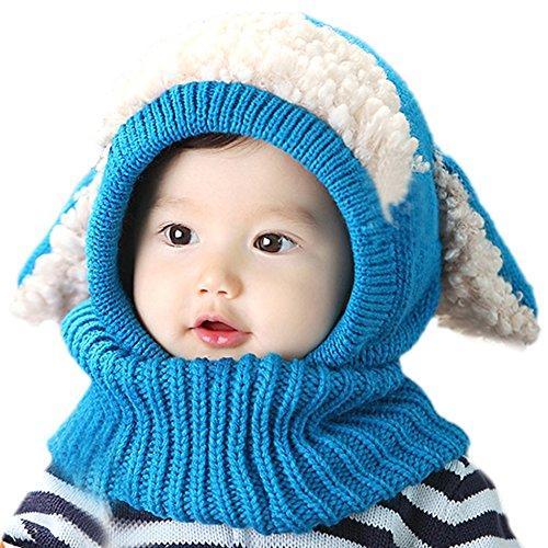 EFINNY EFINNY Toddler Baby Kids Mädchen Winter Warm Woolen Schal Caps Hooded Hats (Blue)