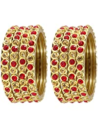 NMII Stylish & Trendy Red & Golden (Small) Ring Type Bangles Set For Women & Girls On Wedding,Festive,Everday...