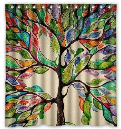 Baum viele schöne Duschvorhänge zur Auswahl, hochwertige Qualität, Wasserdicht, Anti-Schimmel-Effekt 180 x 180 cm (Schwarz Und Weiß Wirbeln)