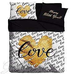 Idea Regalo - Completo Lenzuola Maestri Cotonieri Love Heart Gold Scritte Romantico Amore GIOSAL-Nero-Matrimoniale