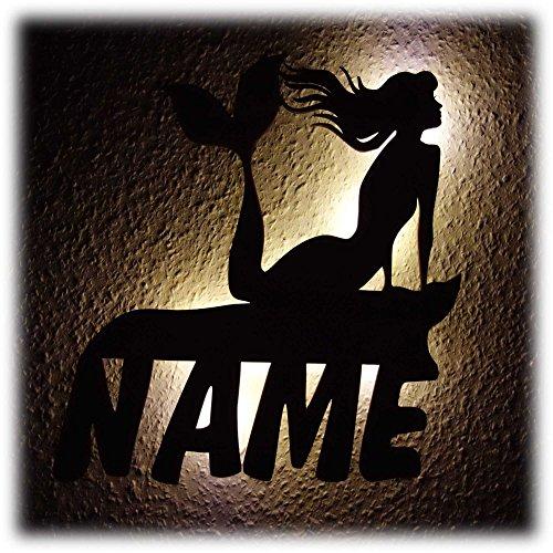 Meerjungfrau Flosse Led Wand Lampe I Geschenke mit Name zum Geburtstag für Kinder und Erwachsene I Holz Geschenkidee - Meer-lampe