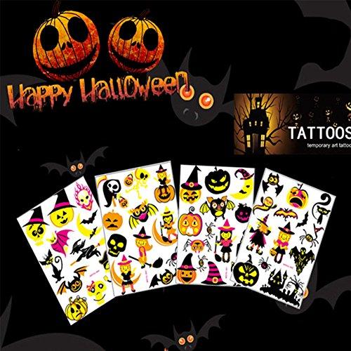 JuanYa 4 Blätter Temporäre Tattoo Aufkleber Cartoon Kürbis Schädel Hexe Bat Spider Castle Tattoos für Cosplay Party - Halloween-cartoon-hexe