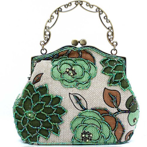 KAXIDY Borsa Pochette Della Borsa Sacchetto Donne Elegante Stile Pastorale Verde