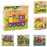 6 in 1 Kids Early Education Wooden 3D Cube Puzzle Learning Toy -Transport