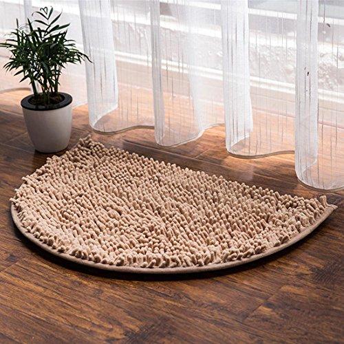 Halbrund Bad Teppiche, Badezimmer Teppich Wasser absorbierenden rutschfeste Dusche Teppich geeignet für Wohnzimmer Küche Schlafzimmer Indoor Outdoor Teppiche Badezimmer Matten, Polyester, camel, 50 x 80 cm (Indoor-outdoor-matte)
