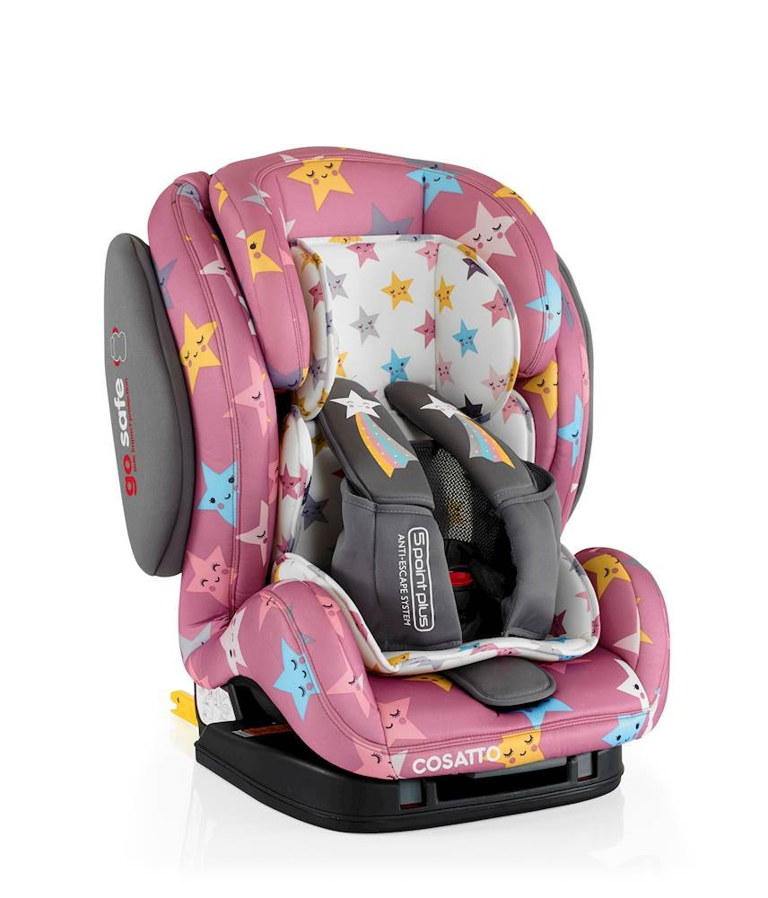 Cosatto Hug Isofix Car Seat Group 123, 9-36 kg, Happy Stars Cosatto Suitable from 9 kg-36 kg (9 months - 12 years approximatelyimately), Hug ISOFIX is an investment; it fits forward-facing in most cars with standard ISOFIX connectors and top tether anchor point The exclusive Five Point Plus Anti-Escape system deters determined wrigglers and diminishes driver distraction; it features extra-cushioned side impact protection for in-car security Impact protection for in-car security Hug ISOFIX has fabrics, a height-adjustable headrest and reclining padded seat for on-board comfort, plus easy-clean pop-off covers and liner to help you out 5