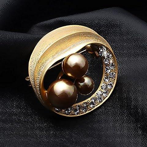 OUYANG Pin di prima scelta spilla di strass vintage perla Spilla ovale - Vintage Del Strass Pin