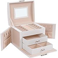SONGMICS Boîte à Bijoux, Mallette à Bijoux, Coffret à Bijoux de Voyage, Organisateur de Bijoux Portable, avec 2 tiroirs…