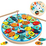 RILLATEK-AE Wooden Fishing Game Toy for Toddlers Fish Catching Counting Preschool Board Games Toys for 2-4 Year Old Girl Boy