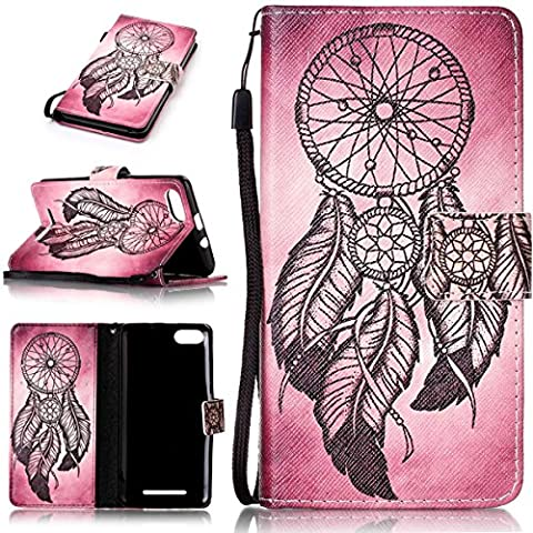 Wiko Lenny 3Flip Case Pink Heart Colour Drawing Dark Blue Stripes Full Protection Card Kit with Soft Leather Magnetic Flip Closure Cover Girl Style Three Bookstyle Case Soft Silicone Shock Scratch And Absorbs Phone Leather Case With Handstrap for Wiko Lenny